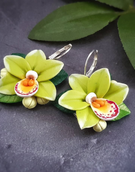 "Earrings ""Orchids"" green"